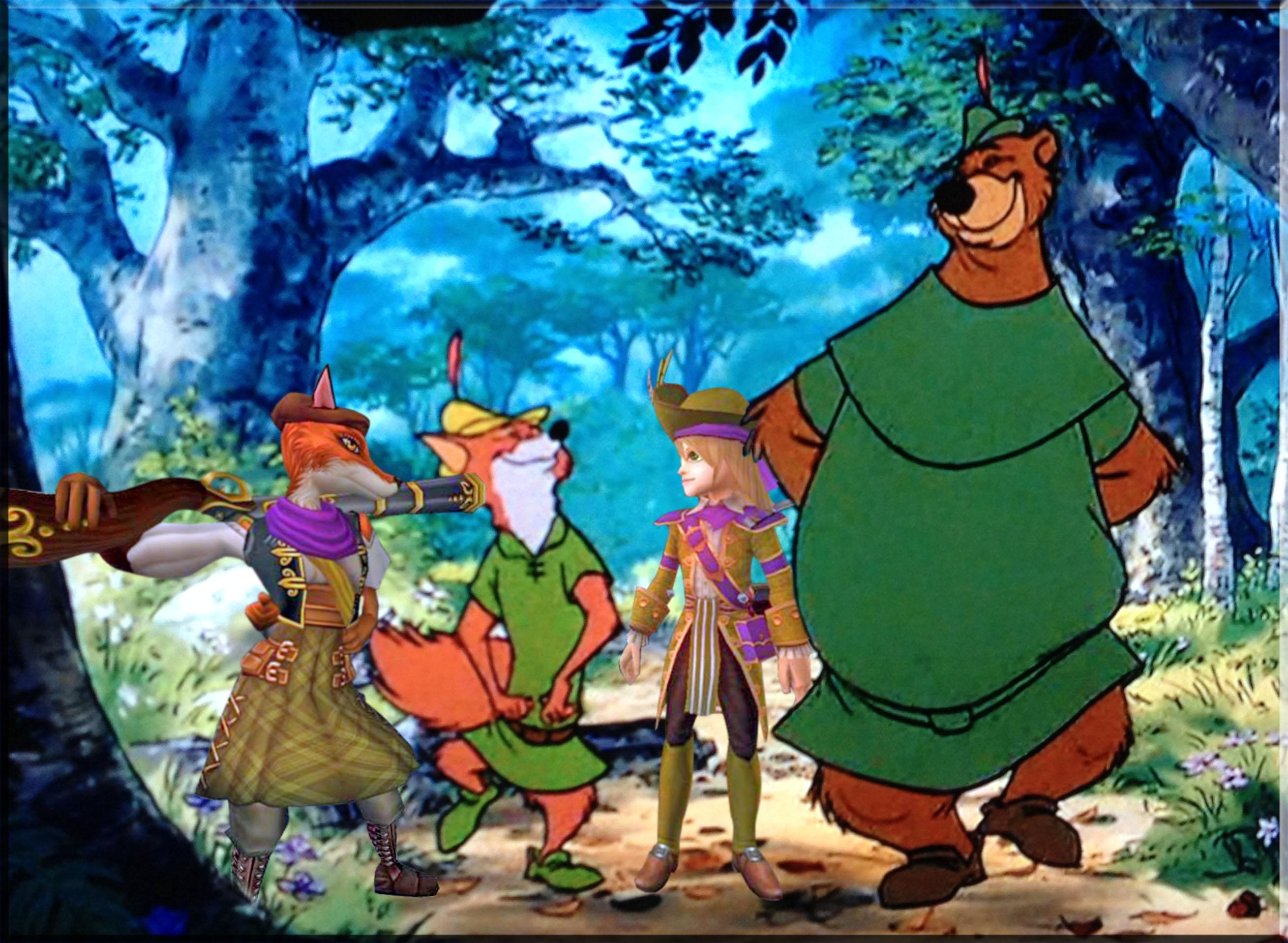 Chrissy & Bonnie Anne With Robin Hood & Little John oo-de-lally